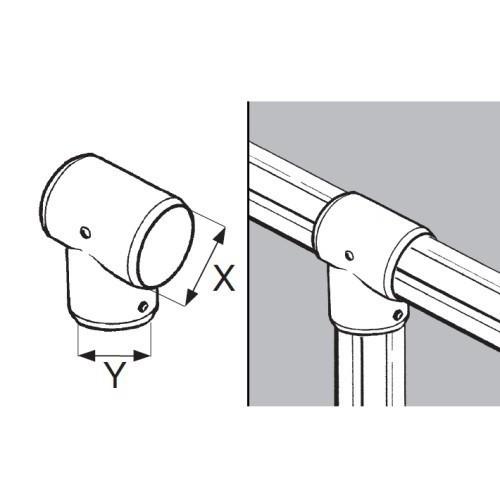 Łącznik trzykierunkowy z blokadą do rury fi 50 i fi 32 mm AC934-C