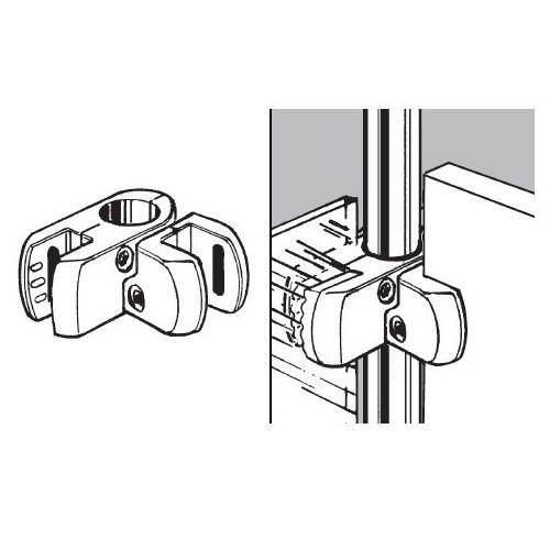 Złącze do płyty lub szkła podwójne kątowe (aluminium)