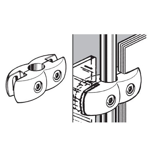 Złącze podwójne aluminiowe do płyty lub szkła do rury fi 25 mm TR551-0