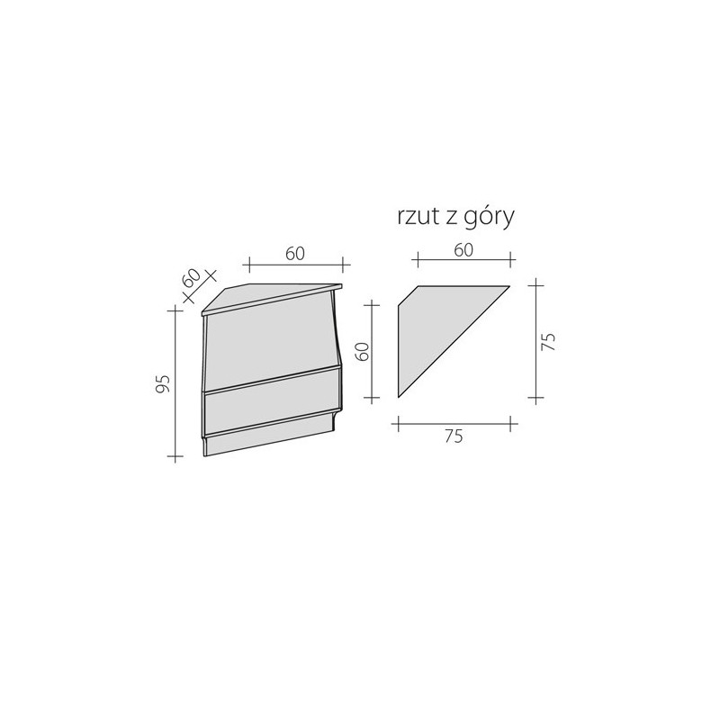 Lada sklepowa narożna zewnętrzna 90 stopni o wymiarach 60x60x95 cm LG-NZ90/ALB