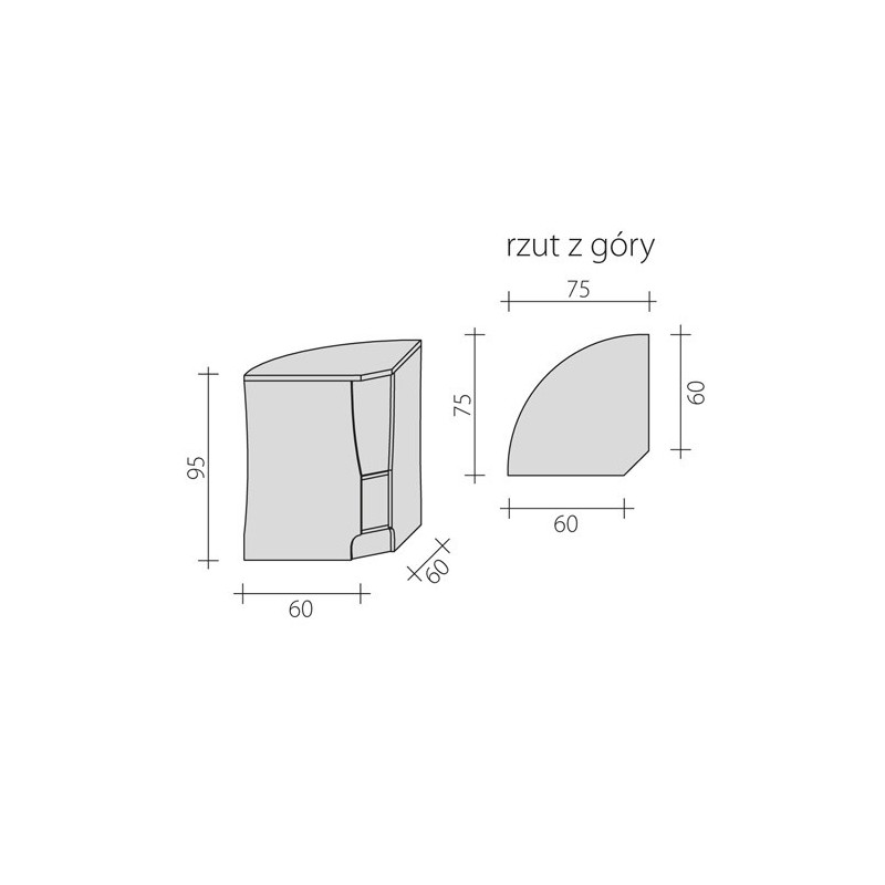 Lada sklepowa narożna wewnętrzna 90 stopni o wymiarach 60x60x95 cm LG-NW90/ALB