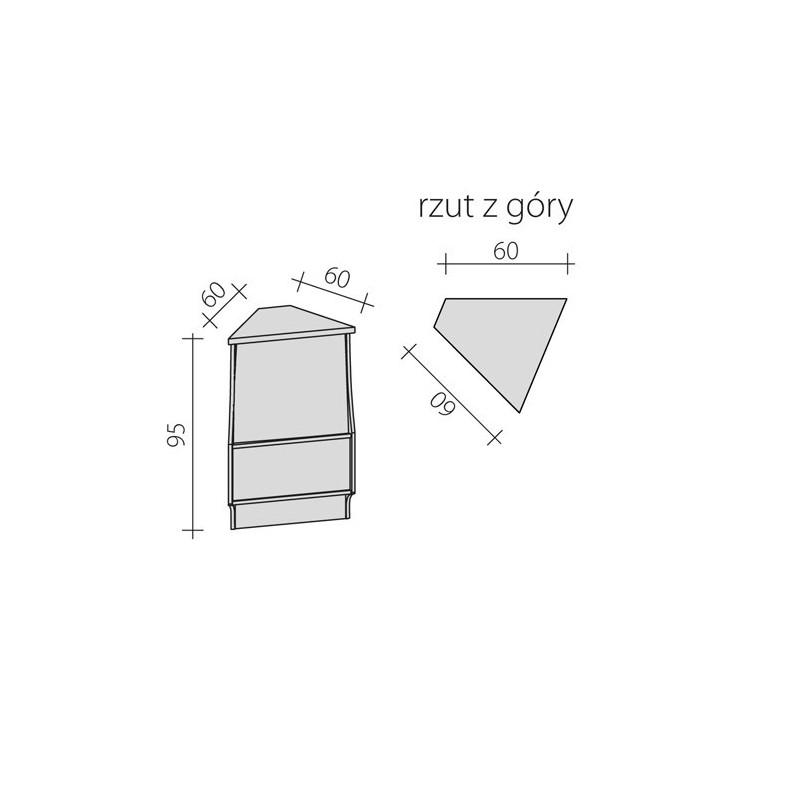 Lada sklepowa narożna zewnętrzna 45 stopni o wymiarach 60x60x95 cm LG-NZ45/ALB