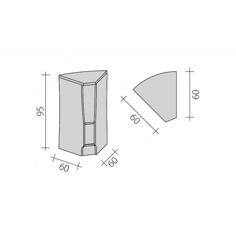 Lada sklepowa narożna wewnętrzna 45 stopni o wymiarach 60x60x95 cm LG-NW45/ALB