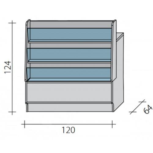 Lada pełna - gazeciarz o wymiarach 120x64x124 cm LGG-W-120/ALB