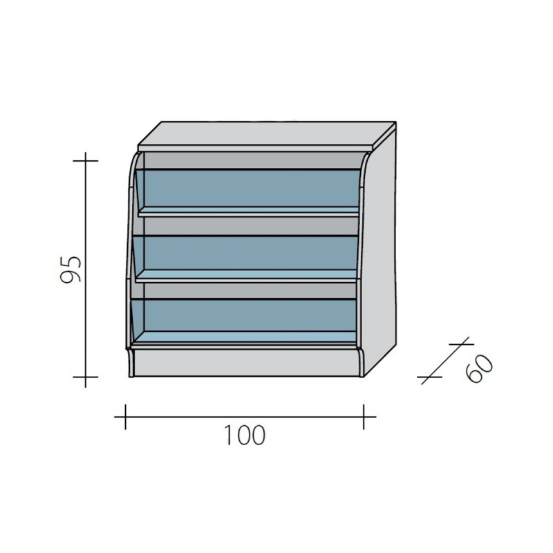 Lada pełna - gazeciarz o wymiarach 100x60x95 cm LGG-N-100/ALB