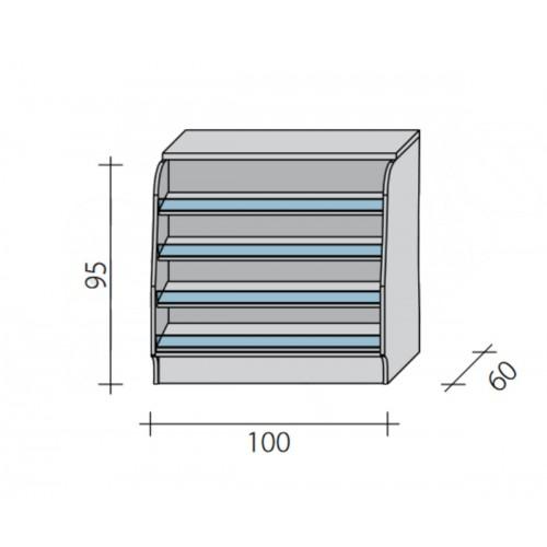 Lada sklepowa pełna z impulsem o wymiarach 100x60x95 cm LGI-N-100/ALB