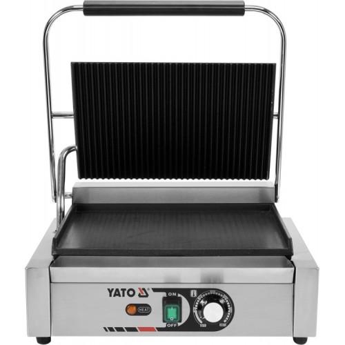Elektryczny grill kontaktowy panini 1/2 płaski x 1/2 ryflowany 44cm 2,2kw