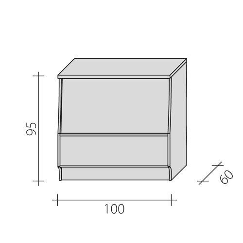 Lada sklepowa o o wymiarach 100x60x95 cm LGP-100/ALB