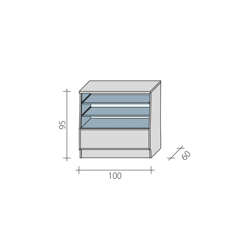 Lada sklepowa przeszklona z pełnym blatem o wymiarach 100x60x95 cm LGS-100/ALB