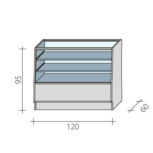Lada sklepowa przeszklona w 2/3 o wymiarach 120x60x95 cm LGBS-120/ALB