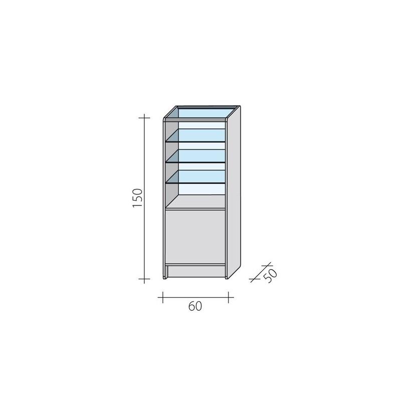 Lada witryna przeszklona w 1/3 o wymiarach 60x50x150 cm LW 1/3-60/ALB