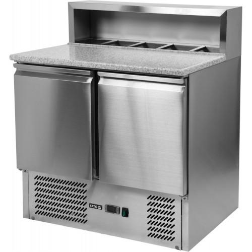 Stół chłodniczy 240l 2-drzwiowy z nadstawką i blatem granitowym