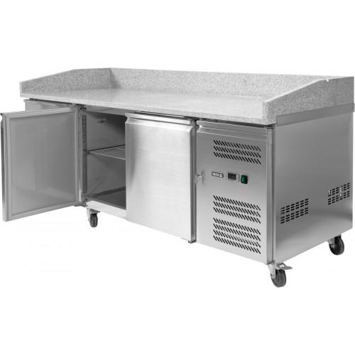 Stół chłodniczy do pizzy 580l 2-drzwiowy 7 szuflad granitowy blat