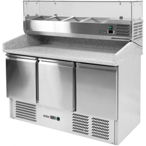 Stół chłodniczy do pizzy 368l i nadstawką 6xgn1/4 3-drzwiowy z blatem granitowym