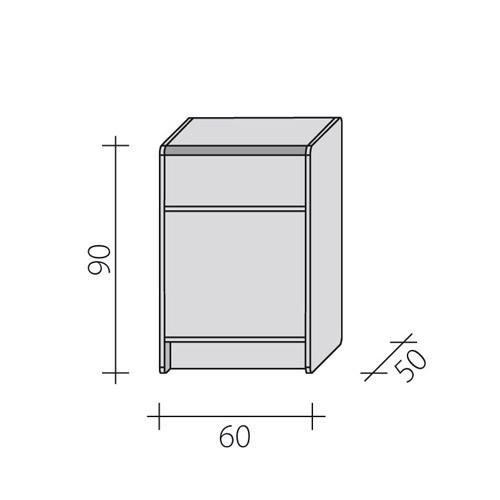 Lada sklepowa pełna o długości o wymiarach 60x50x90 cm LPP 1-60/ALB