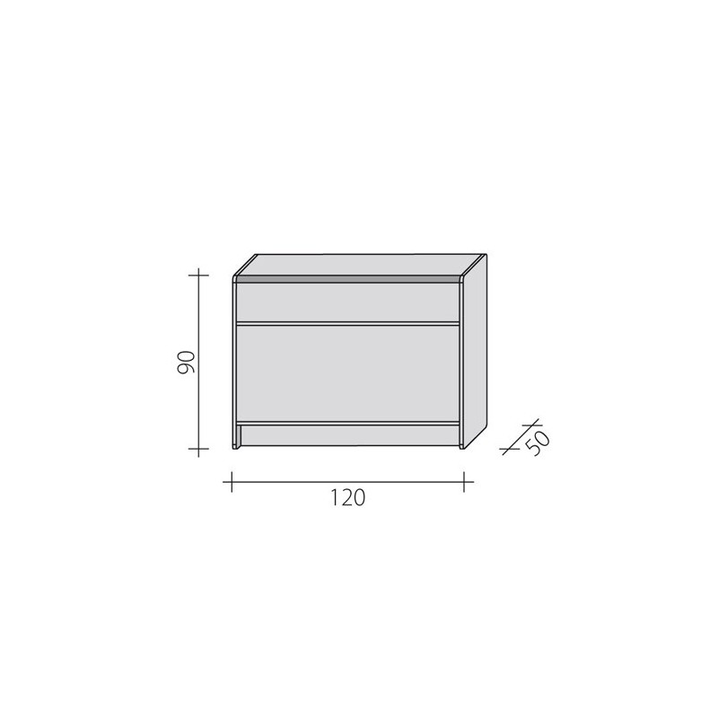 Lada sklepowa pełna o wymiarach 120x50x90 cm LPP 1-120/ALB