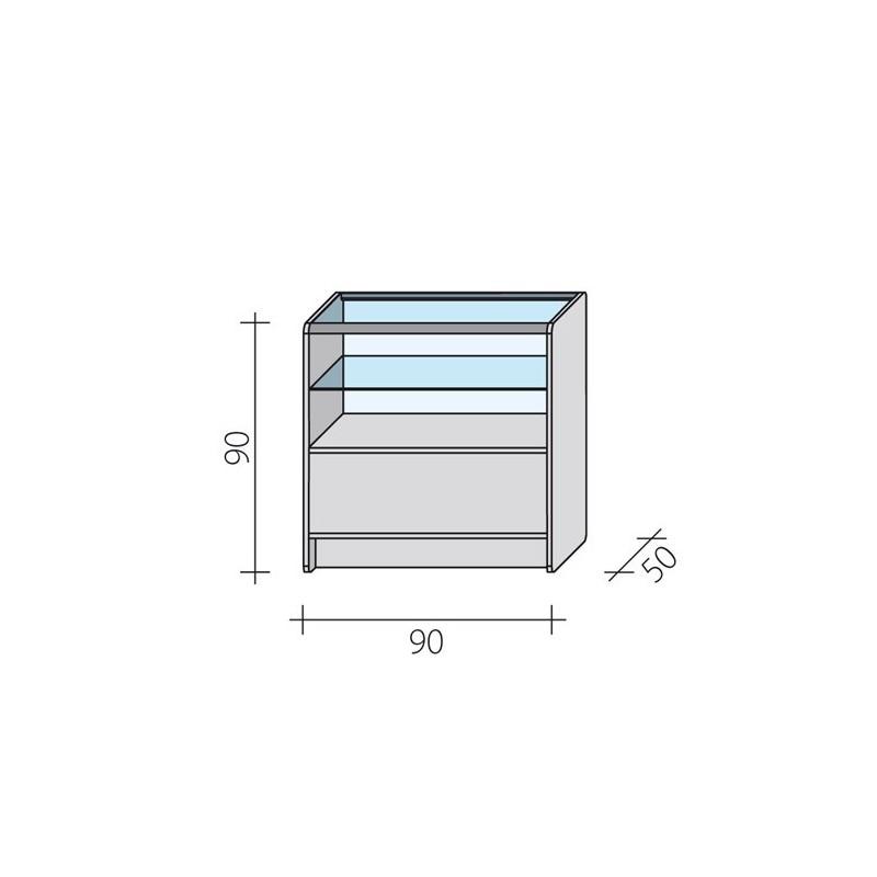 Lada sklepowa przeszklona w 2/3 o wymiarach 90x50x90 cm LPS 2/3-90/ALB
