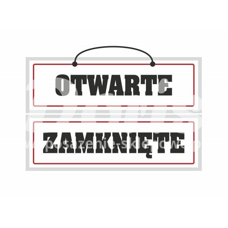 Tablica laminowana dwustronna z napisem otwarte/zamknięte o wymiarach 8,5x28 cm