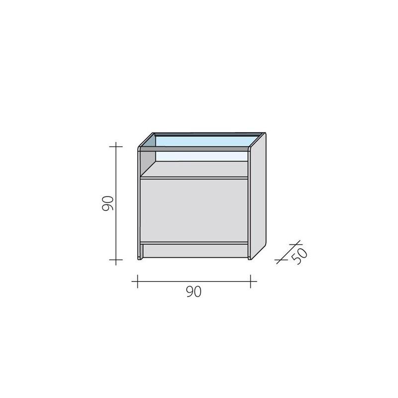Lada sklepowa przeszklona w 1/3 o wymiarach 90x50x90 cm LPS 1/3-90/ALB