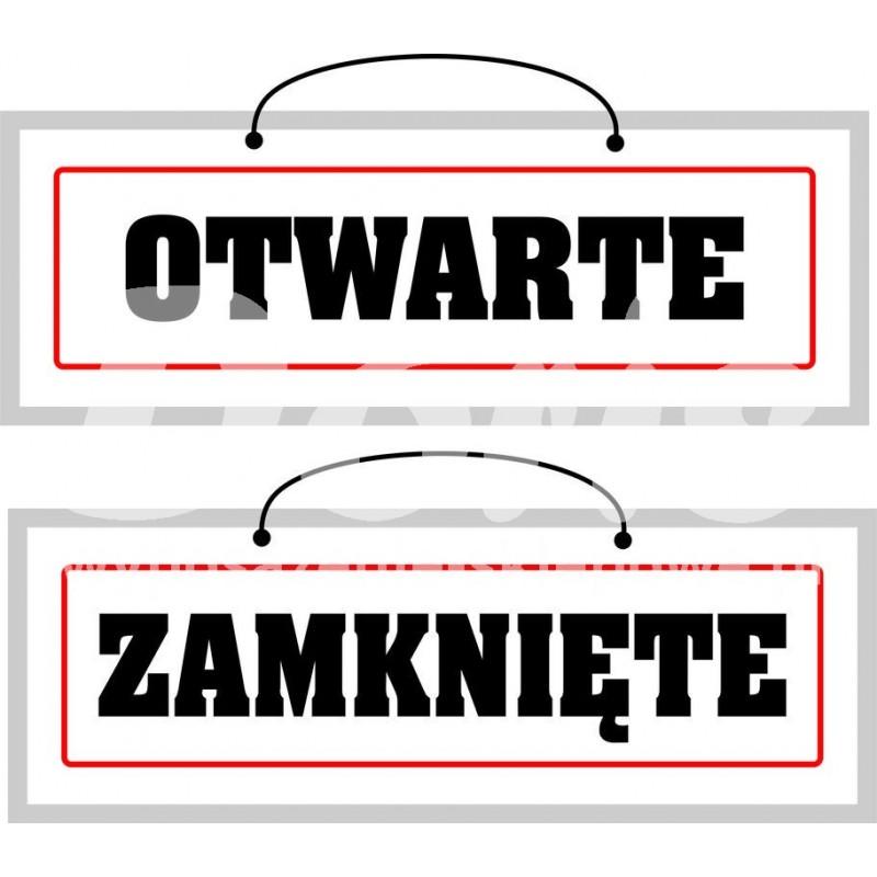 Tablica laminowana dwustronna z napisem otwarte/zamknięte o wymiarach 12x48,5 cm