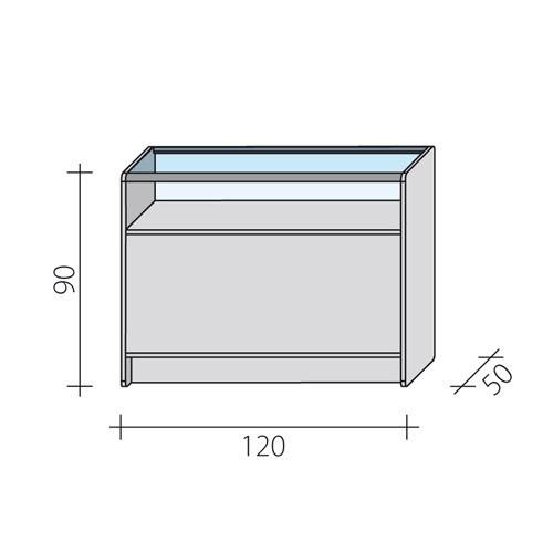 Lada sklepowa przeszklona w 1/3 o wymiarach 120x50x90 cm LPS 1/3-120/ALB