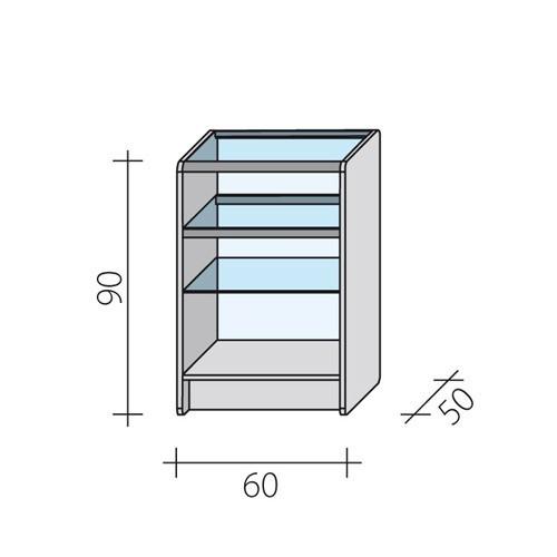 Lada sklepowa przeszklona całkowicie o wymiarach 60x50x90 cm LPS 1-60/ALB