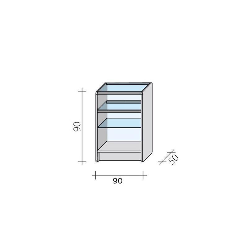 Lada sklepowa przeszklona całkowicie o wymiarach 90x50x90 cm LPS 1-90/ALB