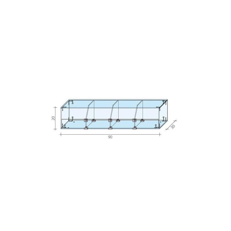 Gablota 1-poziomowa o wymiarach 90x30x20 cm AL 14/ALB