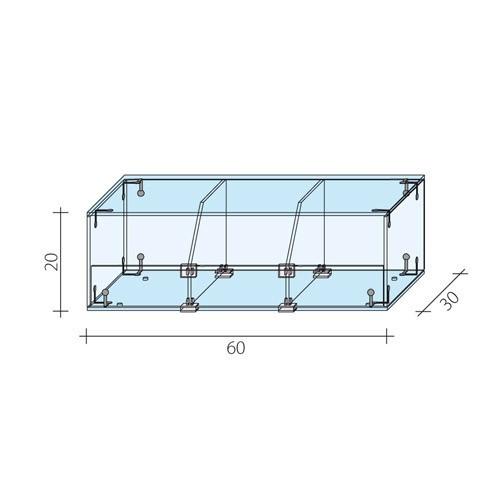 Gablota 1-poziomowa o wymiarach 60x30x20 cm AL 14-M/ALB