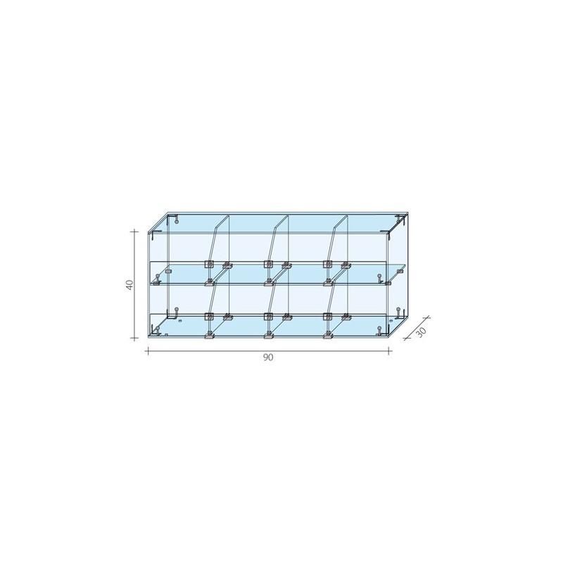 Gablota 2-poziomowa o wymiarach 90x30x40 cm AL 15/ALB