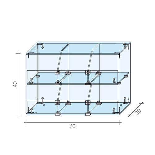 Gablota 2-poziomowa o wymiarach 60x30x40 cm AL 15-M/ALB