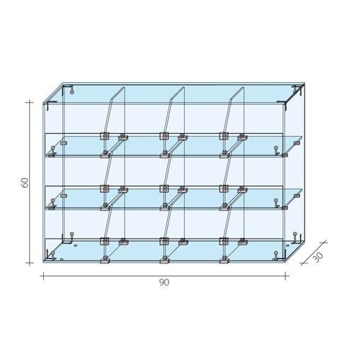 Gablota 3-poziomowa 90x30x60 cm AL 16/ALB