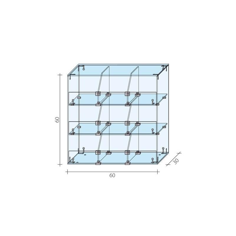 Gablota 3-poziomowa o wymiarach 60x30x60 cm AL 16-M/ALB