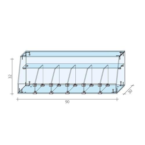 Gablota cukiernicza o wymiarach 90x30x32 cm AL 17/ALB