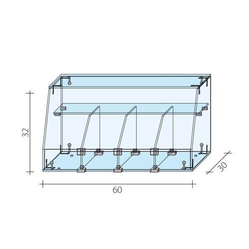 Gablota cukiernicza o wwymiarach 60x30x32 cm AL 17-M/ALB