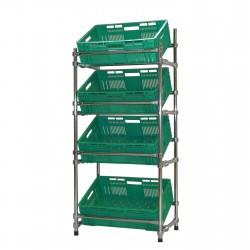 Regał - stojak rurkowy chromowany na warzywa i owoce 4-skrzynkowy RRW-680/4/DOR