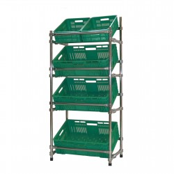Regał - stojak rurkowy chromowany na warzywa i owoce 5-skrzynkowy RRW-680/5/DOR