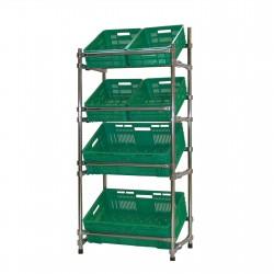 Regał - stojak rurkowy chromowany na warzywa i owoce 6-skrzynkowy RRW-680/6/DOR