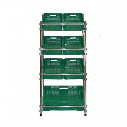 Regał - stojak rurkowy chromowany na warzywa i owoce 7-skrzynkowy RRW-680/7/DOR