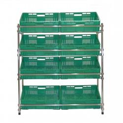 Regał - stojak rurkowy chromowany na warzywa i owoce 8-skrzynkowy RRW-1280/8/DOR