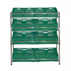 Regał - stojak rurkowy chromowany na warzywa i owoce 10-skrzynkowy RRW-1280/10/DOR