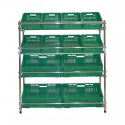 Regał - stojak rurkowy chromowany na warzywa i owoce 12-skrzynkowy RRW-1280/12/DOR
