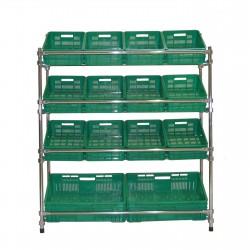 Regał - stojak rurkowy chromowany na warzywa i owoce 14-skrzynkowy RRW-1280/14/DOR