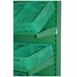 Regał na warzywa i owoce na skrzynki zielony o długości 180 cm RWAN 90+90/ATU