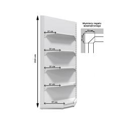 Regał metalowy sklepowy przyścienny wewnętrzny Mago o wysokości 210