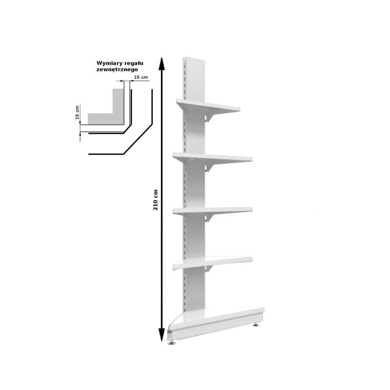 Regał metalowy sklepowy przyścienny zewnętrzny Mago o wysokości 210
