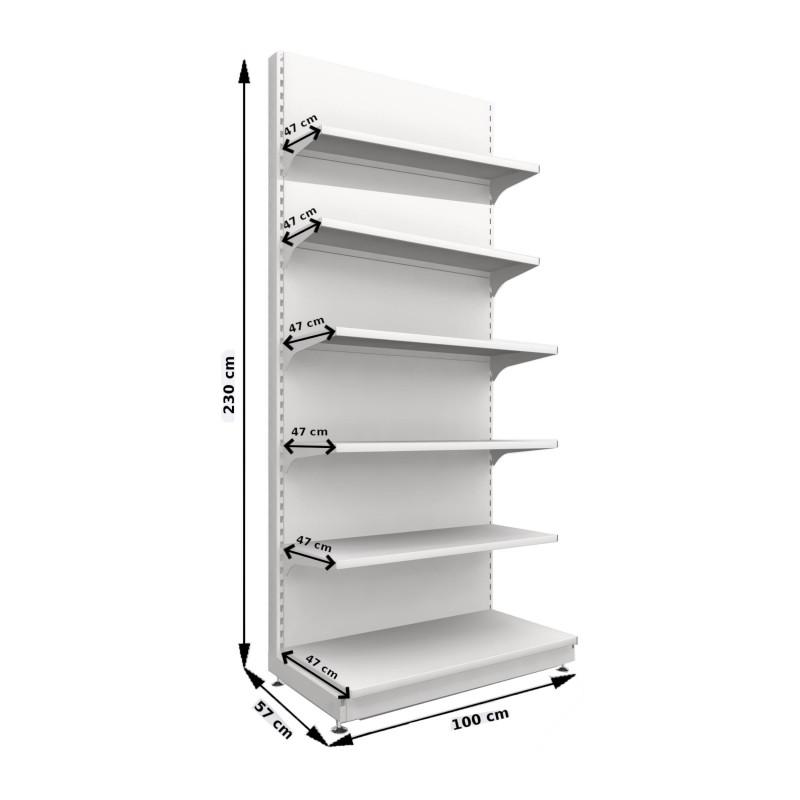 Regał metalowy sklepowy przyścienny Mago 230x100