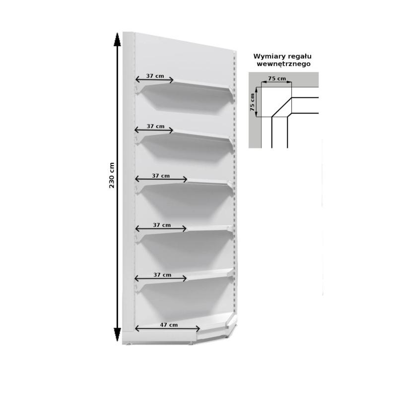 Regał metalowy sklepowy przyścienny wewnętrzny Mago o wysokości 230
