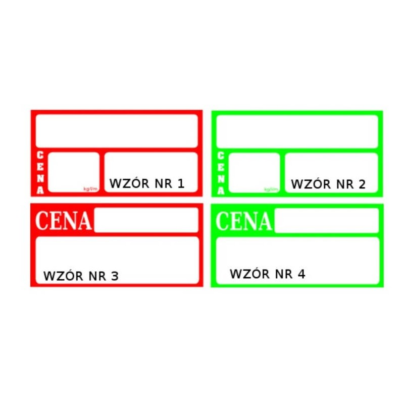 Etykiety cenówki do listew kartonowe 38x73 CE0005/CE0006/CE0007/CE0008