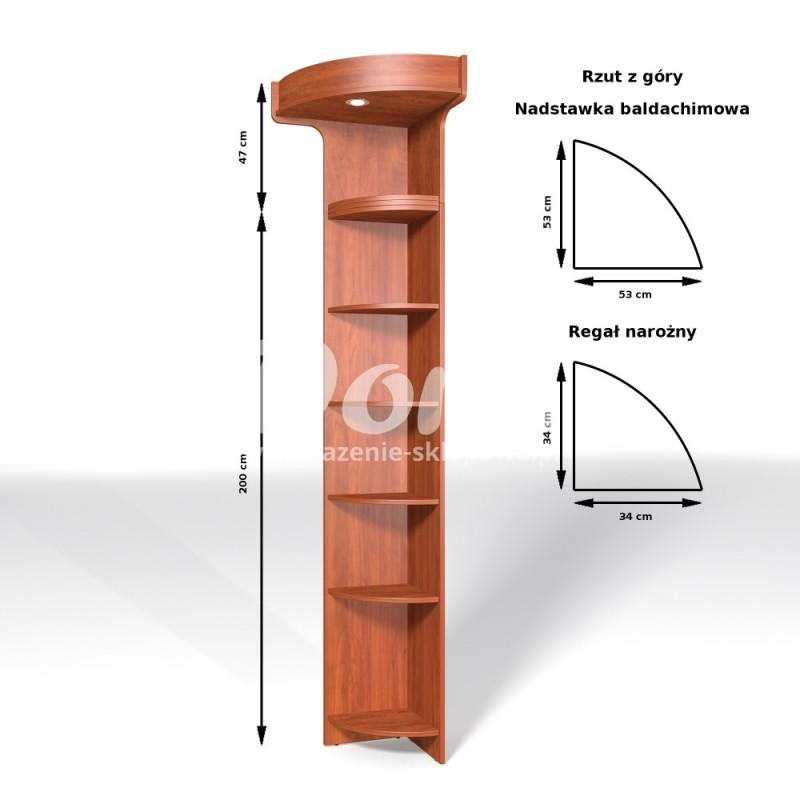 Regał narożny z płyty wiórowej zewnętrzny o wymiarach 247x34x34 cm BRZ/ALB